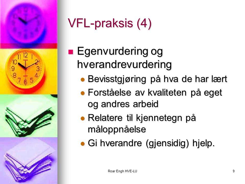 Roar Engh HVE-LU9 VFL-praksis (4) Egenvurdering og hverandrevurdering Egenvurdering og hverandrevurdering Bevisstgjøring på hva de har lært Bevisstgjø