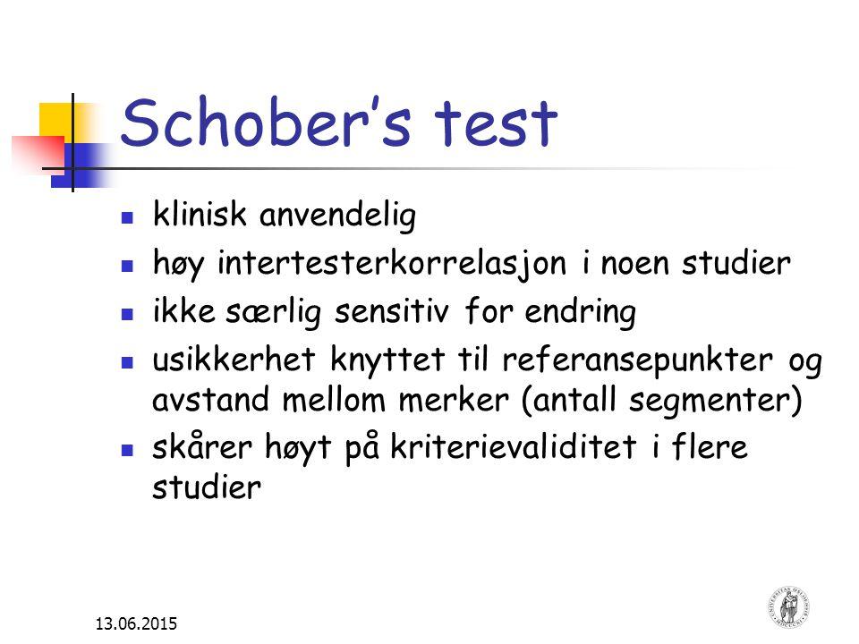 13.06.2015 Schober's test klinisk anvendelig høy intertesterkorrelasjon i noen studier ikke særlig sensitiv for endring usikkerhet knyttet til referan