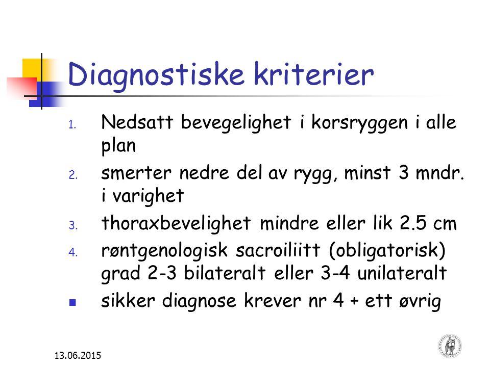 13.06.2015 Diagnostiske kriterier 1. Nedsatt bevegelighet i korsryggen i alle plan 2. smerter nedre del av rygg, minst 3 mndr. i varighet 3. thoraxbev