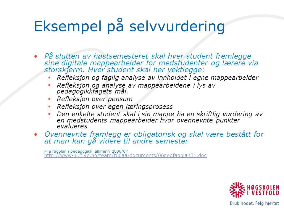 Eksempel på selvvurdering På slutten av høstsemesteret skal hver student fremlegge sine digitale mappearbeider for medstudenter og lærere via storskjerm.