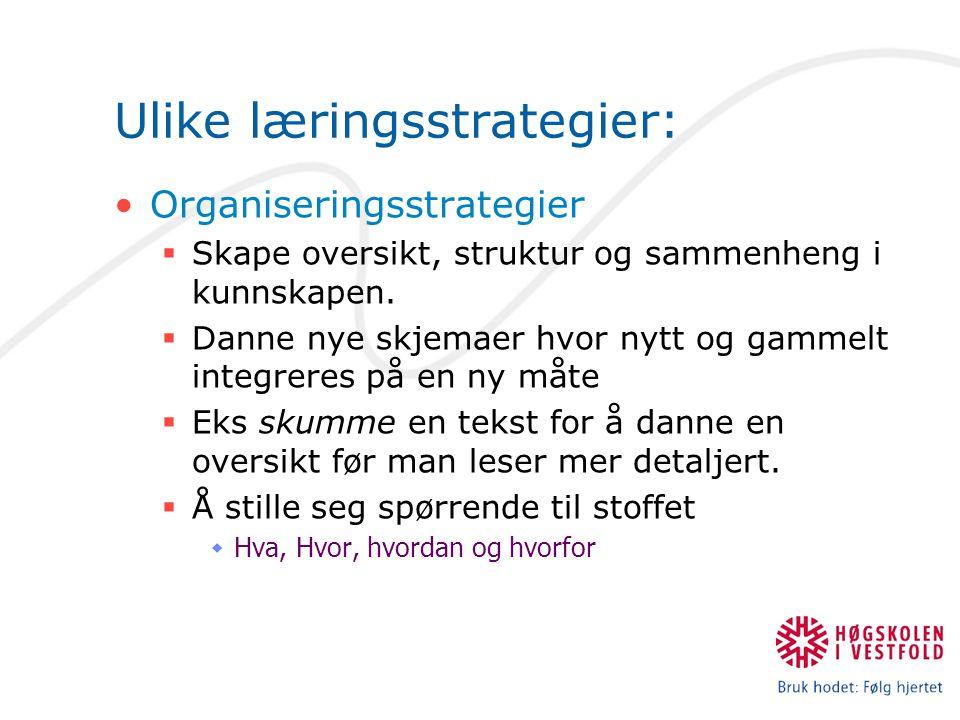 Ulike læringsstrategier: Organiseringsstrategier  Skape oversikt, struktur og sammenheng i kunnskapen.