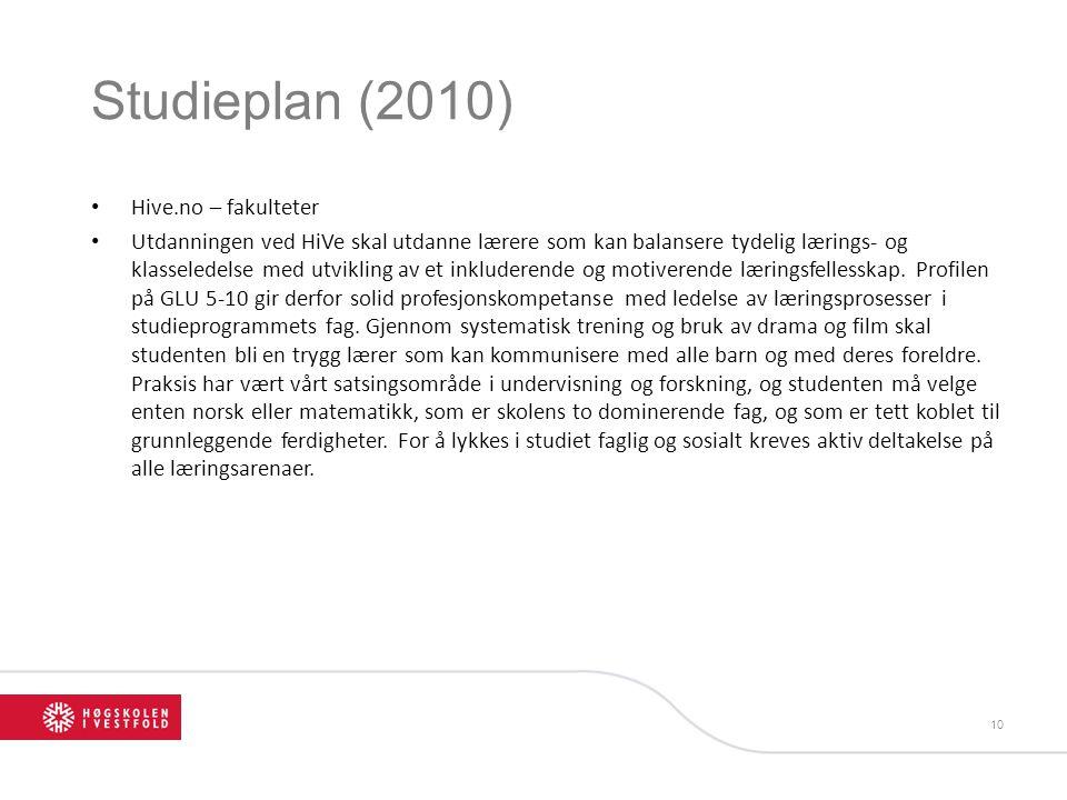 Studieplan (2010) Hive.no – fakulteter Utdanningen ved HiVe skal utdanne lærere som kan balansere tydelig lærings- og klasseledelse med utvikling av e