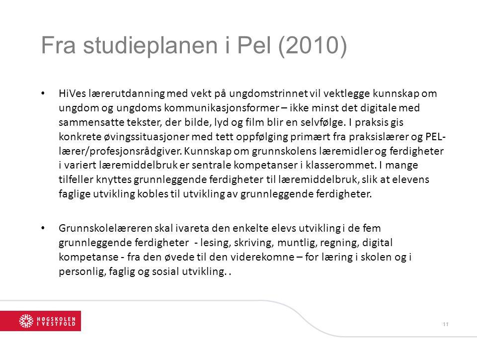 Fra studieplanen i Pel (2010) HiVes lærerutdanning med vekt på ungdomstrinnet vil vektlegge kunnskap om ungdom og ungdoms kommunikasjonsformer – ikke