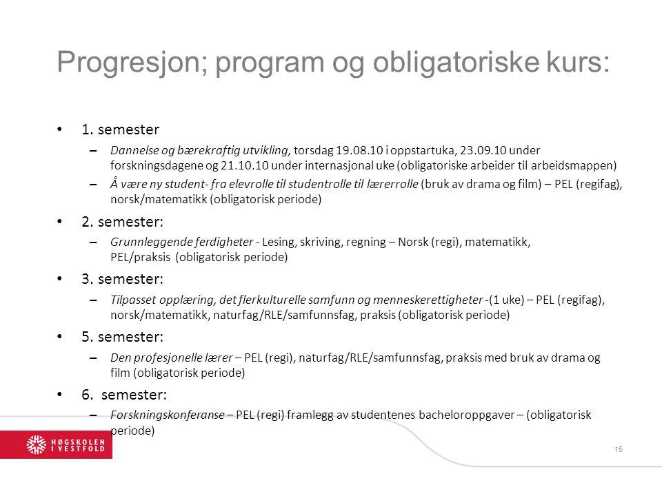 Progresjon; program og obligatoriske kurs: 1. semester – Dannelse og bærekraftig utvikling, torsdag 19.08.10 i oppstartuka, 23.09.10 under forskningsd