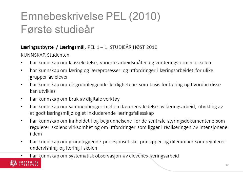 Emnebeskrivelse PEL (2010) Første studieår Læringsutbytte / Læringsmål, PEL 1 – 1. STUDIEÅR HØST 2010 KUNNSKAP, Studenten har kunnskap om klasseledels