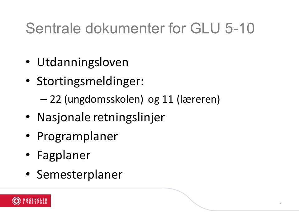 Sentrale dokumenter for GLU 5-10 Utdanningsloven Stortingsmeldinger: – 22 (ungdomsskolen) og 11 (læreren) Nasjonale retningslinjer Programplaner Fagpl