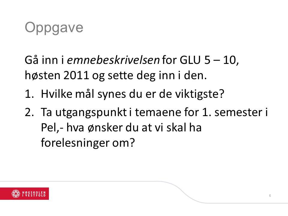 Oppgave Gå inn i emnebeskrivelsen for GLU 5 – 10, høsten 2011 og sette deg inn i den. 1.Hvilke mål synes du er de viktigste? 2.Ta utgangspunkt i temae