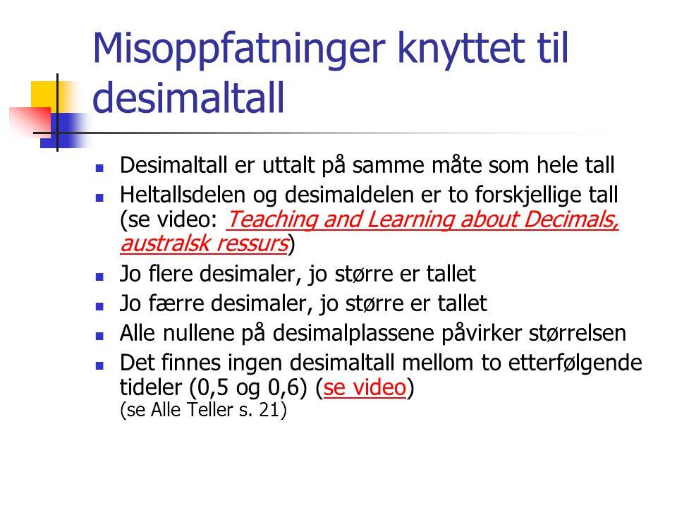 Misoppfatninger knyttet til desimaltall Desimaltall er uttalt på samme måte som hele tall Heltallsdelen og desimaldelen er to forskjellige tall (se vi