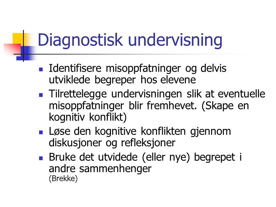 Diagnostisk undervisning Identifisere misoppfatninger og delvis utviklede begreper hos elevene Tilrettelegge undervisningen slik at eventuelle misoppfatninger blir fremhevet.