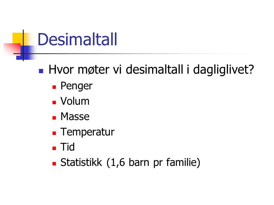Desimaltall Hvor møter vi desimaltall i dagliglivet? Penger Volum Masse Temperatur Tid Statistikk (1,6 barn pr familie)