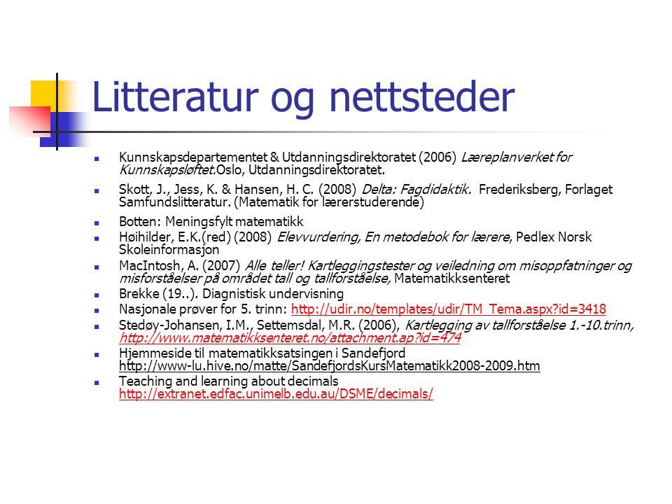 Litteratur og nettsteder Kunnskapsdepartementet & Utdanningsdirektoratet (2006) Læreplanverket for Kunnskapsløftet.Oslo, Utdanningsdirektoratet. Skott