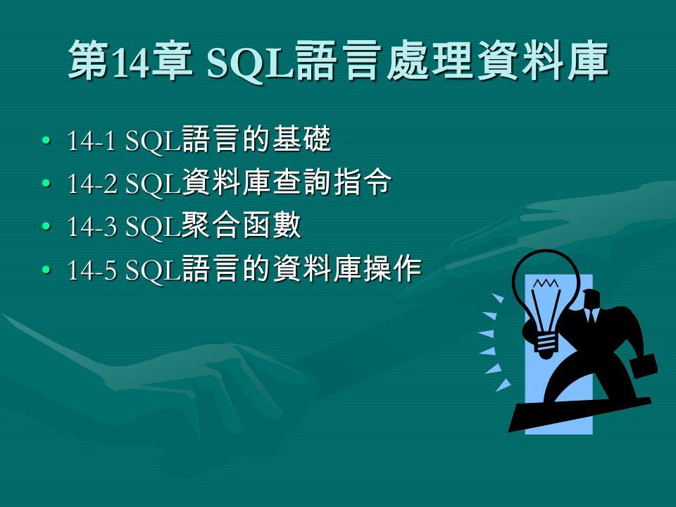 第 14 章 SQL 語言處理資料庫 14-1 SQL 語言的基礎14-1 SQL 語言的基礎 14-2 SQL 資料庫查詢指令14-2 SQL 資料庫查詢指令 14-3 SQL 聚合函數14-3 SQL 聚合函數 14-5 SQL 語言的資料庫操作14-5 SQL 語言的資料庫操作