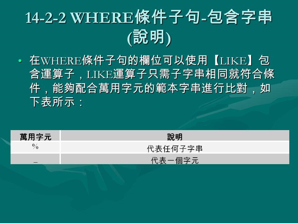 14-2-2 WHERE 條件子句 - 包含字串 ( 說明 ) 在 WHERE 條件子句的欄位可以使用【 LIKE 】包 含運算子, LIKE 運算子只需子字串相同就符合條 件,能夠配合萬用字元的範本字串進行比對,如 下表所示: 在 WHERE 條件子句的欄位可以使用【 LIKE 】包 含運算子, LIKE 運算子只需子字串相同就符合條 件,能夠配合萬用字元的範本字串進行比對,如 下表所示:
