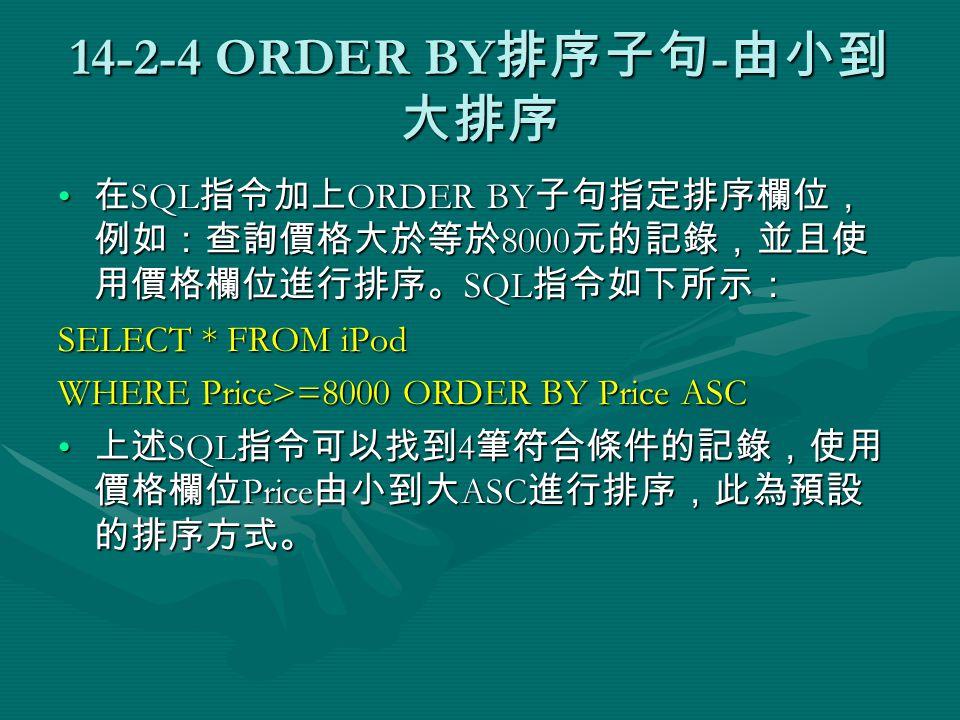 14-2-4 ORDER BY 排序子句 - 由小到 大排序 在 SQL 指令加上 ORDER BY 子句指定排序欄位, 例如:查詢價格大於等於 8000 元的記錄,並且使 用價格欄位進行排序。 SQL 指令如下所示: 在 SQL 指令加上 ORDER BY 子句指定排序欄位, 例如:查詢價格大於等於 8000 元的記錄,並且使 用價格欄位進行排序。 SQL 指令如下所示: SELECT * FROM iPod WHERE Price>=8000 ORDER BY Price ASC 上述 SQL 指令可以找到 4 筆符合條件的記錄,使用 價格欄位 Price 由小到大 ASC 進行排序,此為預設 的排序方式。 上述 SQL 指令可以找到 4 筆符合條件的記錄,使用 價格欄位 Price 由小到大 ASC 進行排序,此為預設 的排序方式。