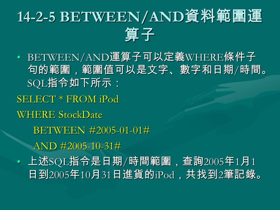 14-2-5 BETWEEN/AND 資料範圍運 算子 BETWEEN/AND 運算子可以定義 WHERE 條件子 句的範圍,範圍值可以是文字、數字和日期 / 時間。 SQL 指令如下所示:BETWEEN/AND 運算子可以定義 WHERE 條件子 句的範圍,範圍值可以是文字、數字和日期 / 時間。 SQL 指令如下所示: SELECT * FROM iPod WHERE StockDate BETWEEN #2005-01-01# BETWEEN #2005-01-01# AND #2005-10-31# AND #2005-10-31# 上述 SQL 指令是日期 / 時間範圍,查詢 2005 年 1 月 1 日到 2005 年 10 月 31 日進貨的 iPod ,共找到 2 筆記錄。 上述 SQL 指令是日期 / 時間範圍,查詢 2005 年 1 月 1 日到 2005 年 10 月 31 日進貨的 iPod ,共找到 2 筆記錄。