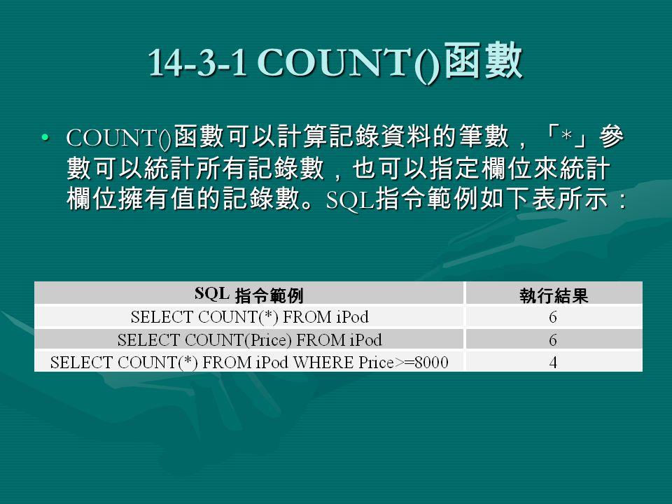 14-3-1 COUNT() 函數 COUNT() 函數可以計算記錄資料的筆數,「 * 」參 數可以統計所有記錄數,也可以指定欄位來統計 欄位擁有值的記錄數。 SQL 指令範例如下表所示:COUNT() 函數可以計算記錄資料的筆數,「 * 」參 數可以統計所有記錄數,也可以指定欄位來統計 欄位擁有值的記錄數。 SQL 指令範例如下表所示: