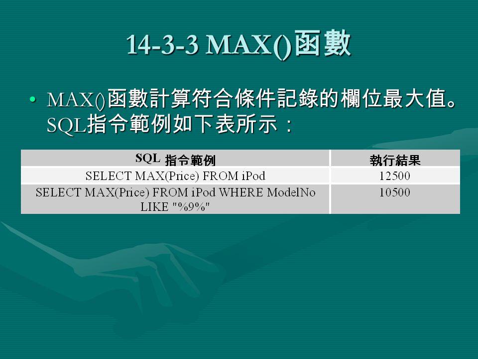 14-3-3 MAX() 函數 MAX() 函數計算符合條件記錄的欄位最大值。 SQL 指令範例如下表所示:MAX() 函數計算符合條件記錄的欄位最大值。 SQL 指令範例如下表所示: