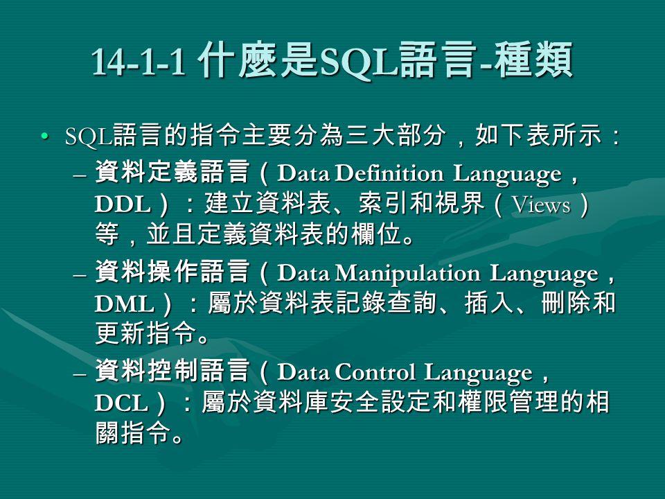 14-1-1 什麼是 SQL 語言 - 種類 SQL 語言的指令主要分為三大部分,如下表所示:SQL 語言的指令主要分為三大部分,如下表所示: – 資料定義語言( Data Definition Language , DDL ):建立資料表、索引和視界( Views ) 等,並且定義資料表的欄位。 – 資料操作語言( Data Manipulation Language , DML ):屬於資料表記錄查詢、插入、刪除和 更新指令。 – 資料控制語言( Data Control Language , DCL ):屬於資料庫安全設定和權限管理的相 關指令。