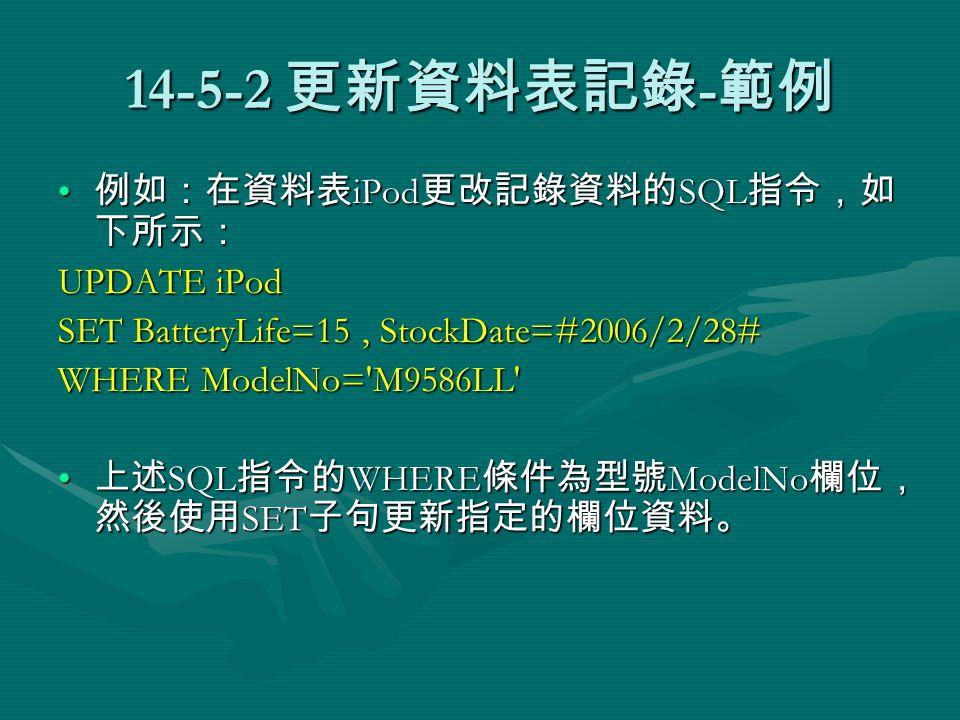 14-5-2 更新資料表記錄 - 範例 例如:在資料表 iPod 更改記錄資料的 SQL 指令,如 下所示: 例如:在資料表 iPod 更改記錄資料的 SQL 指令,如 下所示: UPDATE iPod SET BatteryLife=15, StockDate=#2006/2/28# WHERE ModelNo= M9586LL 上述 SQL 指令的 WHERE 條件為型號 ModelNo 欄位, 然後使用 SET 子句更新指定的欄位資料。 上述 SQL 指令的 WHERE 條件為型號 ModelNo 欄位, 然後使用 SET 子句更新指定的欄位資料。