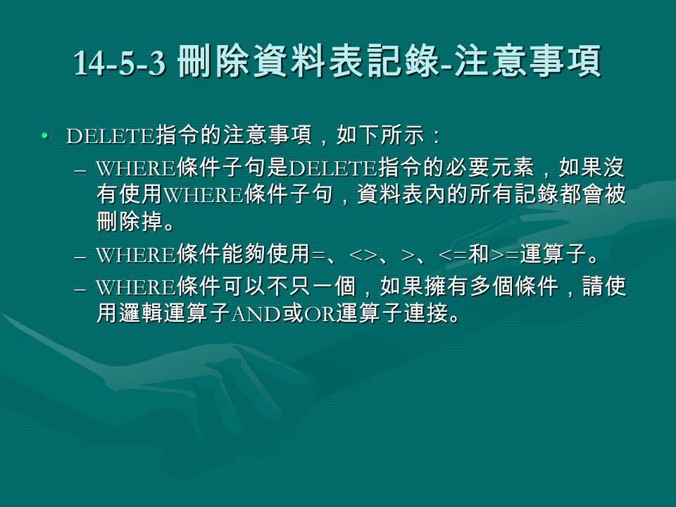 14-5-3 刪除資料表記錄 - 注意事項 DELETE 指令的注意事項,如下所示:DELETE 指令的注意事項,如下所示: –WHERE 條件子句是 DELETE 指令的必要元素,如果沒 有使用 WHERE 條件子句,資料表內的所有記錄都會被 刪除掉。 –WHERE 條件能夠使用 = 、 <> 、 > 、 = 運算子。 –WHERE 條件可以不只一個,如果擁有多個條件,請使 用邏輯運算子 AND 或 OR 運算子連接。