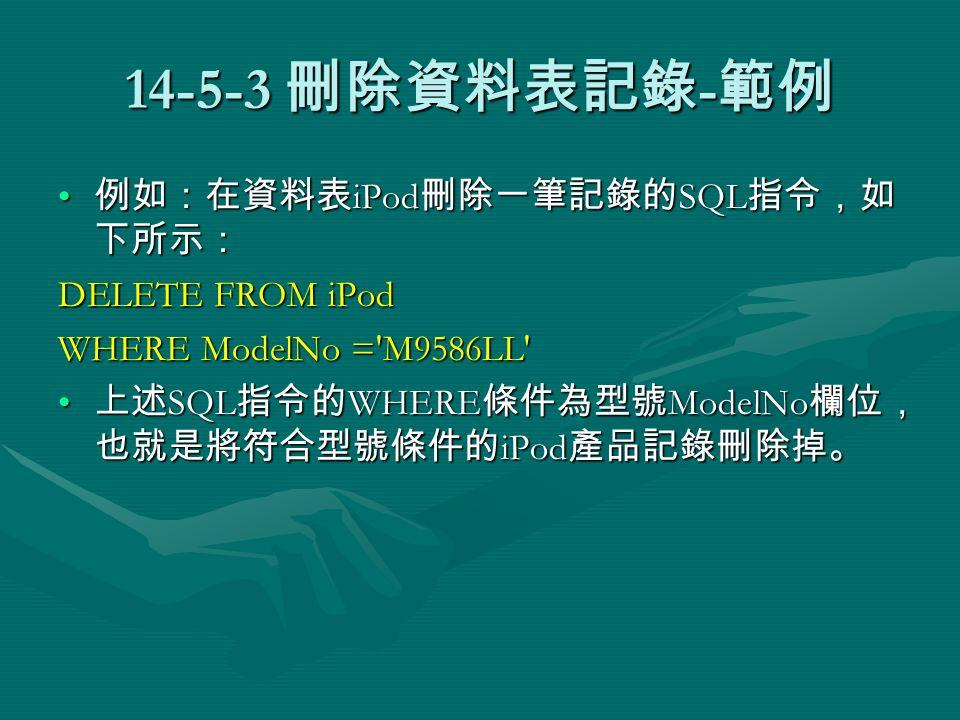 14-5-3 刪除資料表記錄 - 範例 例如:在資料表 iPod 刪除一筆記錄的 SQL 指令,如 下所示: 例如:在資料表 iPod 刪除一筆記錄的 SQL 指令,如 下所示: DELETE FROM iPod WHERE ModelNo = M9586LL 上述 SQL 指令的 WHERE 條件為型號 ModelNo 欄位, 也就是將符合型號條件的 iPod 產品記錄刪除掉。 上述 SQL 指令的 WHERE 條件為型號 ModelNo 欄位, 也就是將符合型號條件的 iPod 產品記錄刪除掉。