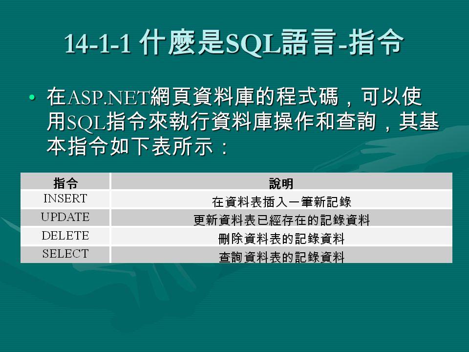 14-3-5 SUM() 函數 SUM() 函數計算符合條件記錄的欄位值總和。 SQL 指令範例如下表所示:SUM() 函數計算符合條件記錄的欄位值總和。 SQL 指令範例如下表所示: