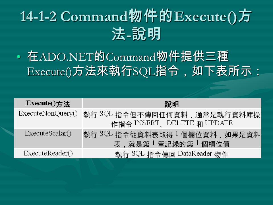 14-1-2 Command 物件的 Execute() 方 法 - 說明 在 ADO.NET 的 Command 物件提供三種 Execute() 方法來執行 SQL 指令,如下表所示: 在 ADO.NET 的 Command 物件提供三種 Execute() 方法來執行 SQL 指令,如下表所示: