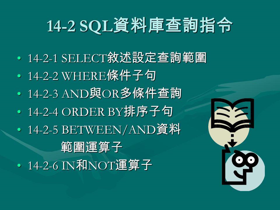 14-2-2 WHERE 條件子句 - 條件值為 數字 WHERE 條件如果是數字欄位,就不需單引號括起, 可以使用的運算子和範例,如下表所示:WHERE 條件如果是數字欄位,就不需單引號括起, 可以使用的運算子和範例,如下表所示: