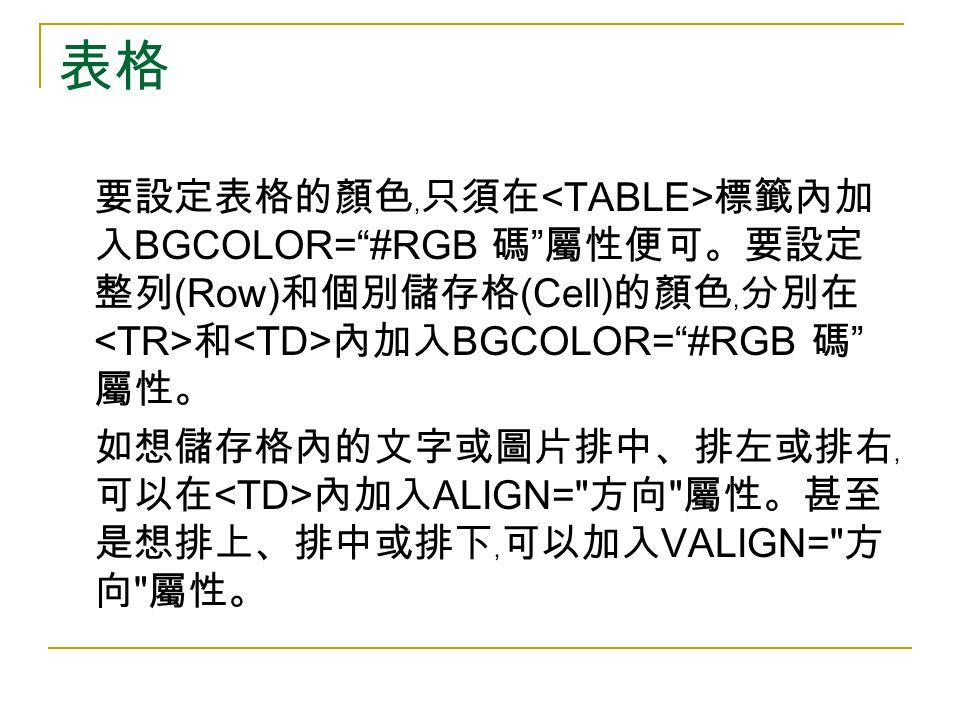 表格 要設定表格的顏色﹐只須在 標籤內加 入 BGCOLOR= #RGB 碼 屬性便可。要設定 整列 (Row) 和個別儲存格 (Cell) 的顏色﹐分別在 和 內加入 BGCOLOR= #RGB 碼 屬性。 如想儲存格內的文字或圖片排中、排左或排右﹐ 可以在 內加入 ALIGN= 方向 屬性。甚至 是想排上、排中或排下﹐可以加入 VALIGN= 方 向 屬性。