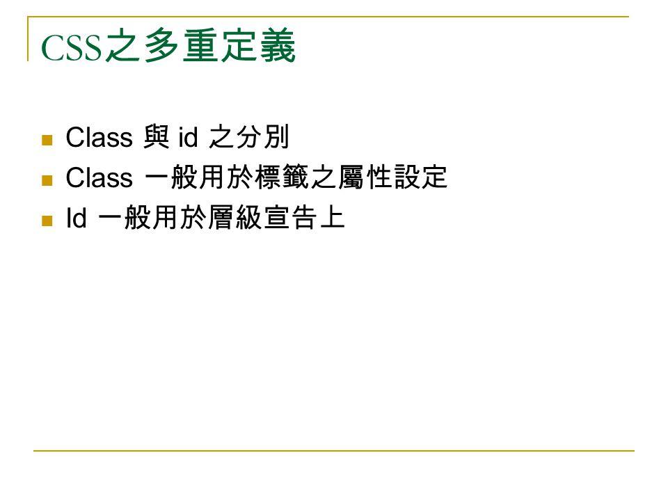 CSS 之多重定義 Class 與 id 之分別 Class 一般用於標籤之屬性設定 Id 一般用於層級宣告上