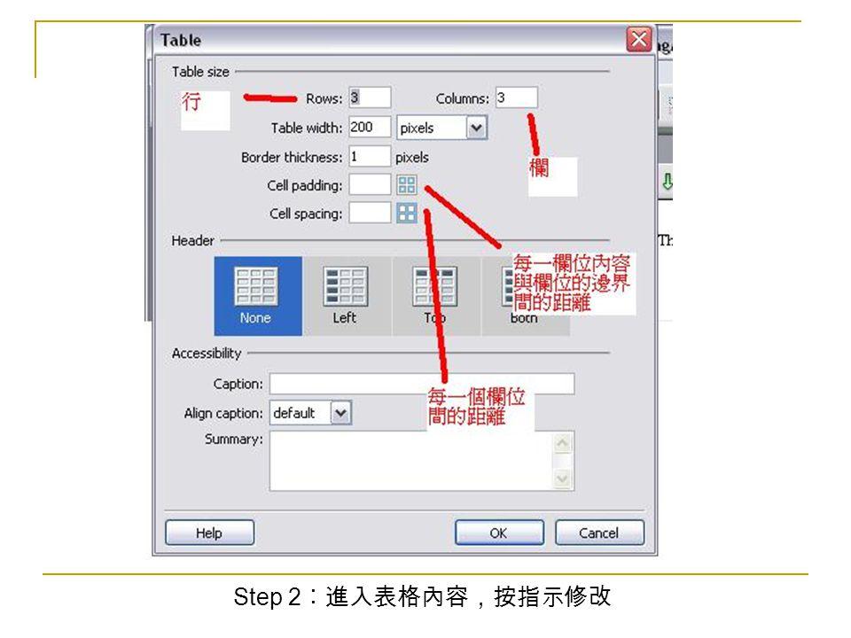 Step 2 ︰進入表格內容,按指示修改