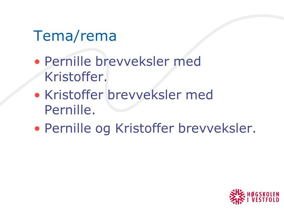 Tema/rema Pernille brevveksler med Kristoffer. Kristoffer brevveksler med Pernille. Pernille og Kristoffer brevveksler.