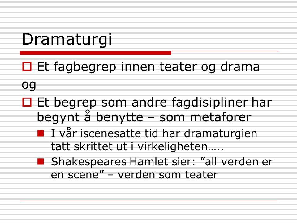 Dramaturgi  Et fagbegrep innen teater og drama og  Et begrep som andre fagdisipliner har begynt å benytte – som metaforer I vår iscenesatte tid har