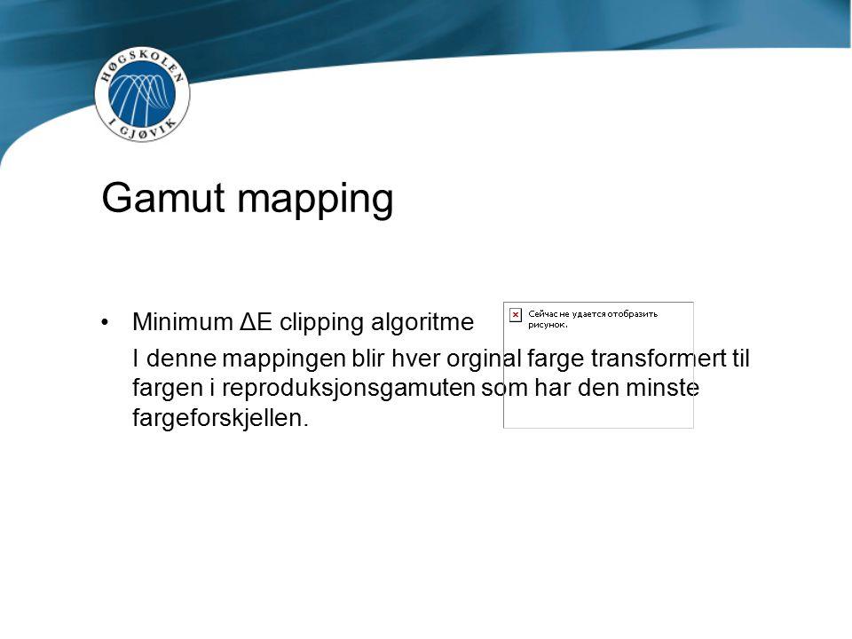 Gamut mapping Minimum ΔE clipping algoritme I denne mappingen blir hver orginal farge transformert til fargen i reproduksjonsgamuten som har den minste fargeforskjellen.
