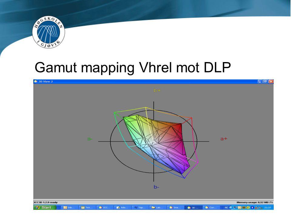 Gamut mapping Vhrel mot DLP