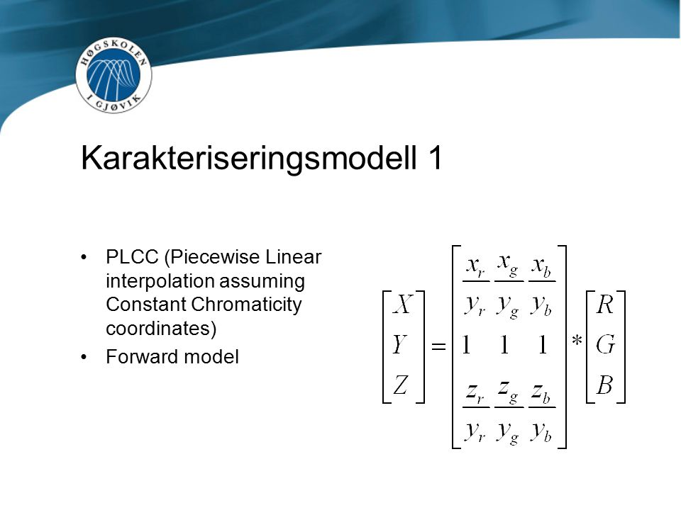 Resultater PLCC (Forward model) Training set (125 farger) Mean ΔE Training set (125 farger) Max ΔE Test set Vrhel 355 farger Mean ΔE Test set Vrhel 355 farger Max ΔE Action One (DLP) 3,997,762,987,91 3M X50 (LCD) 8,1321,428,2813,58