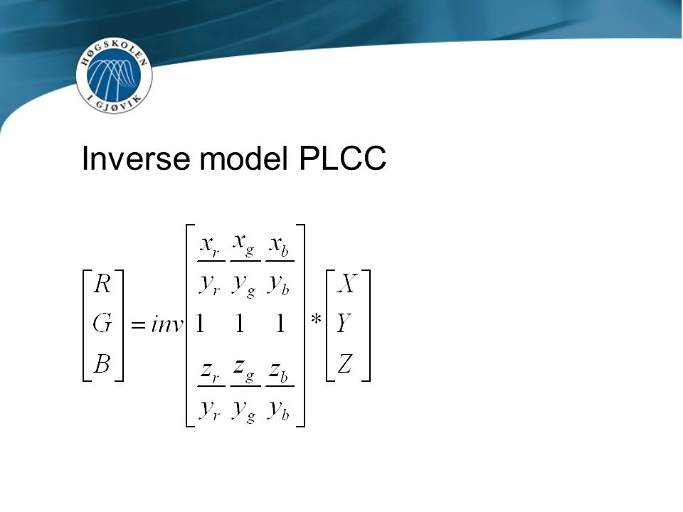 Resultater PLCC (Inverse model) Training set 125 farger Mean ΔE Training set 125 farger Max ΔE Test set Vrhel 355 farger Mean ΔE Test set Vrhel 355 farger Max ΔE Action One (DLP) 1,563,711,413,62 3M X50 (LCD) 6,4518,385,8910,45