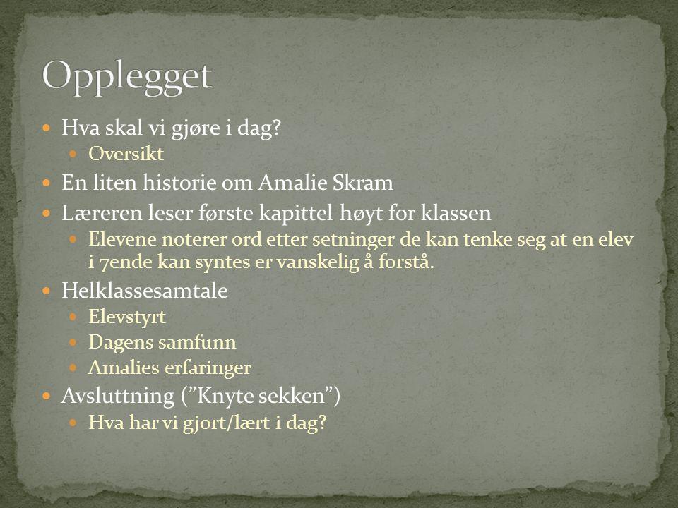 Hva skal vi gjøre i dag? Oversikt En liten historie om Amalie Skram Læreren leser første kapittel høyt for klassen Elevene noterer ord etter setninger