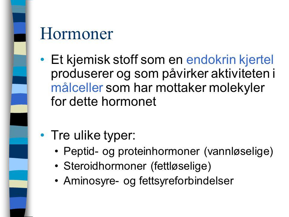 Hormoner Et kjemisk stoff som en endokrin kjertel produserer og som påvirker aktiviteten i målceller som har mottaker molekyler for dette hormonet Tre ulike typer: Peptid- og proteinhormoner (vannløselige) Steroidhormoner (fettløselige) Aminosyre- og fettsyreforbindelser