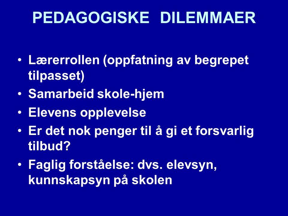 PEDAGOGISKE DILEMMAER Lærerrollen (oppfatning av begrepet tilpasset) Samarbeid skole-hjem Elevens opplevelse Er det nok penger til å gi et forsvarlig tilbud.