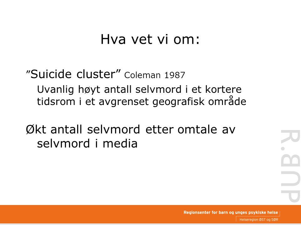 Hva vet vi om: Suicide cluster Coleman 1987 Uvanlig høyt antall selvmord i et kortere tidsrom i et avgrenset geografisk område Økt antall selvmord etter omtale av selvmord i media