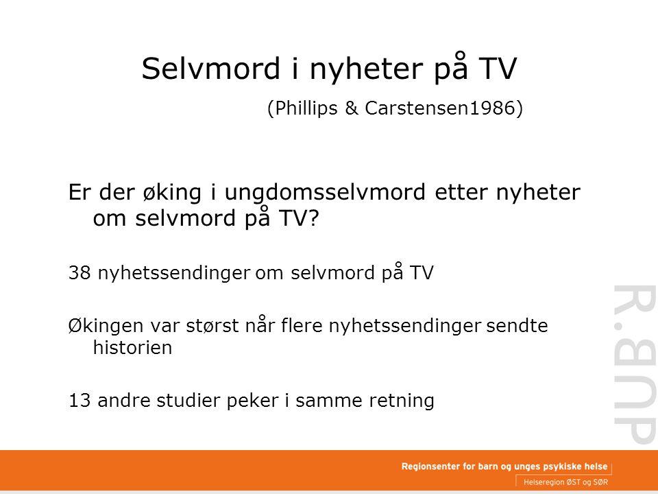 Selvmord i nyheter på TV (Phillips & Carstensen1986) Er der øking i ungdomsselvmord etter nyheter om selvmord på TV.