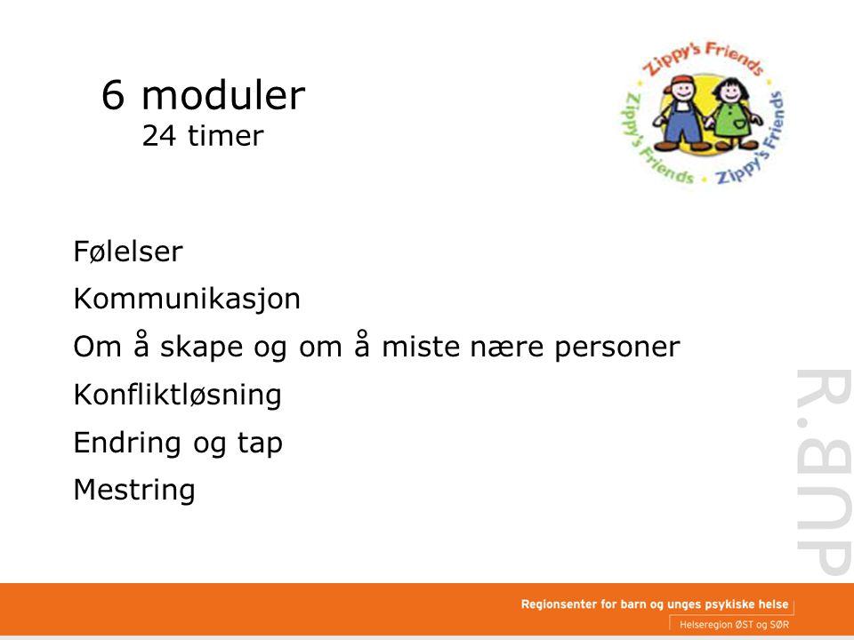 6 moduler 24 timer Følelser Kommunikasjon Om å skape og om å miste nære personer Konfliktløsning Endring og tap Mestring