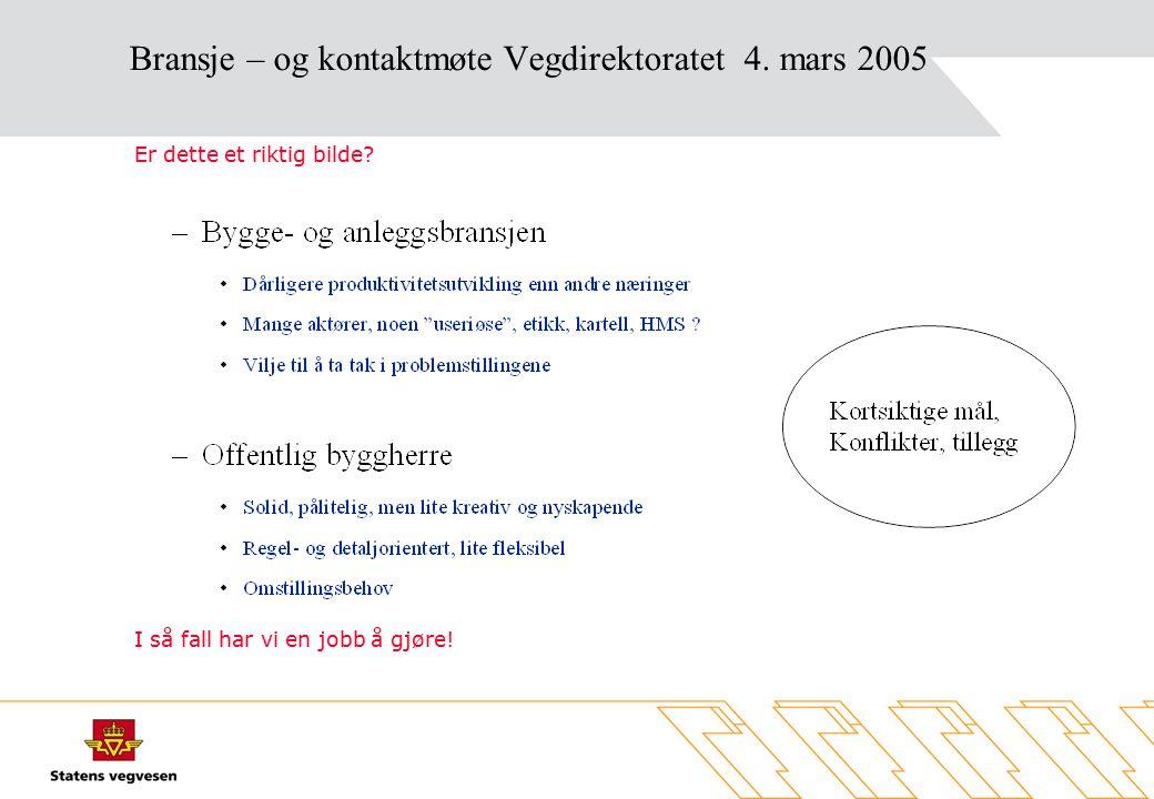 Bransje – og kontaktmøte Vegdirektoratet 4. mars 2005 Er dette et riktig bilde.