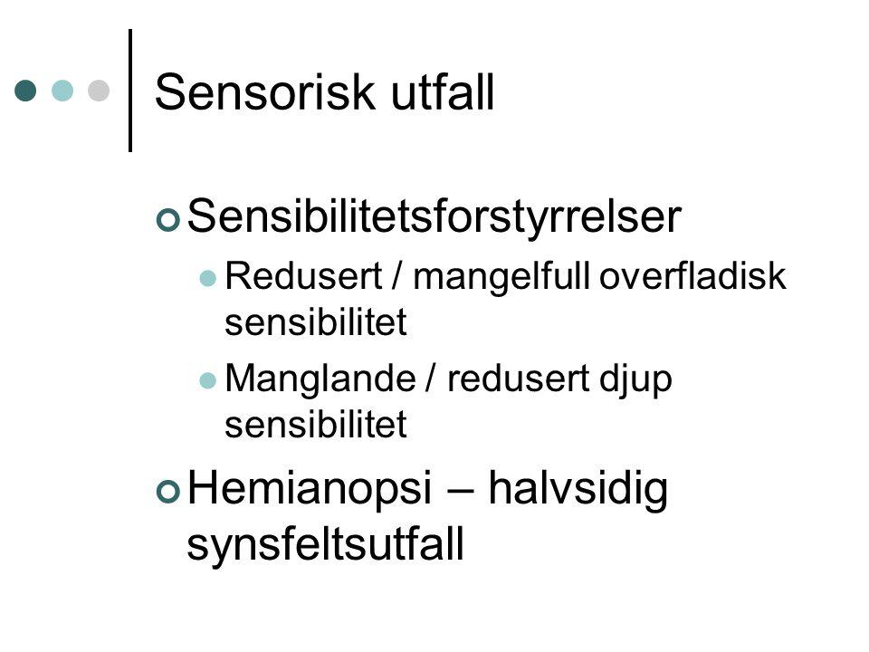 Sensorisk utfall Sensibilitetsforstyrrelser Redusert / mangelfull overfladisk sensibilitet Manglande / redusert djup sensibilitet Hemianopsi – halvsid