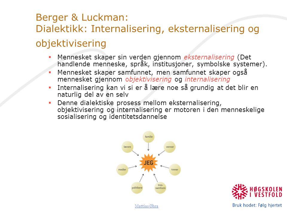 Mattias Øhra Berger & Luckman: Dialektikk: Internalisering, eksternalisering og objektivisering  Mennesket skaper sin verden gjennom eksternalisering (Det handlende menneske, språk, institusjoner, symbolske systemer).