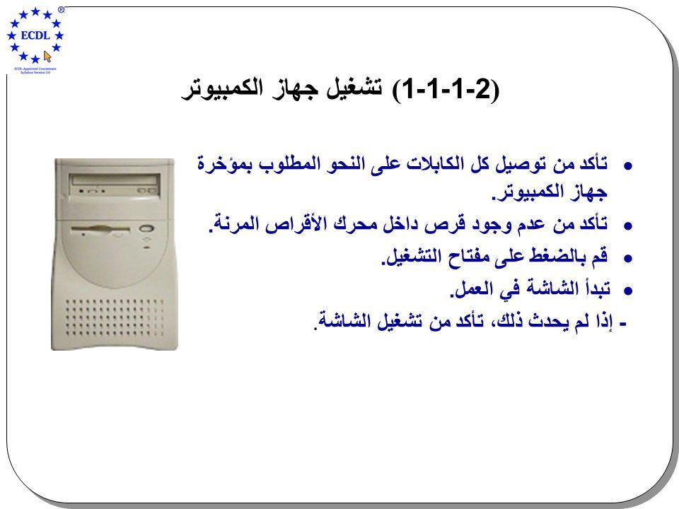 )2-1-1-1 ( تشغيل جهاز الكمبيوتر  تأكد من توصيل كل الكابلات على النحو المطلوب بمؤخرة جهاز الكمبيوتر.  تأكد من عدم وجود قرص داخل محرك الأقراص المرنة.