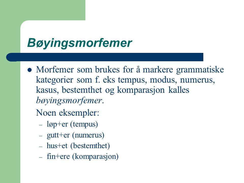 Bøyingsmorfemer Morfemer som brukes for å markere grammatiske kategorier som f. eks tempus, modus, numerus, kasus, bestemthet og komparasjon kalles bø