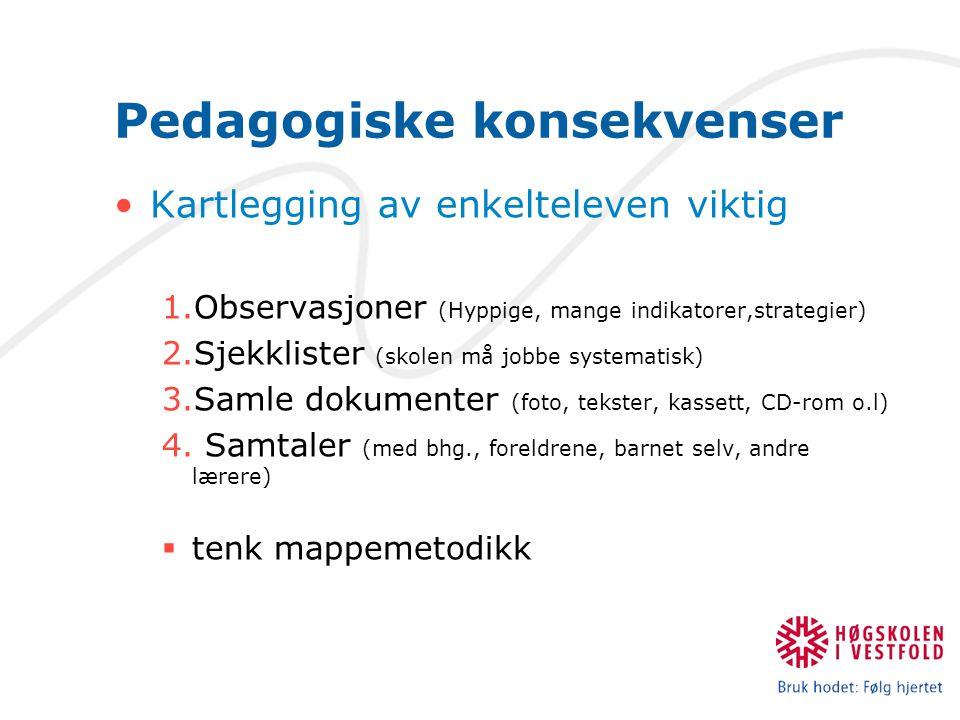 Pedagogiske konsekvenser Kartlegging av enkelteleven viktig 1.Observasjoner (Hyppige, mange indikatorer,strategier) 2.Sjekklister (skolen må jobbe sys