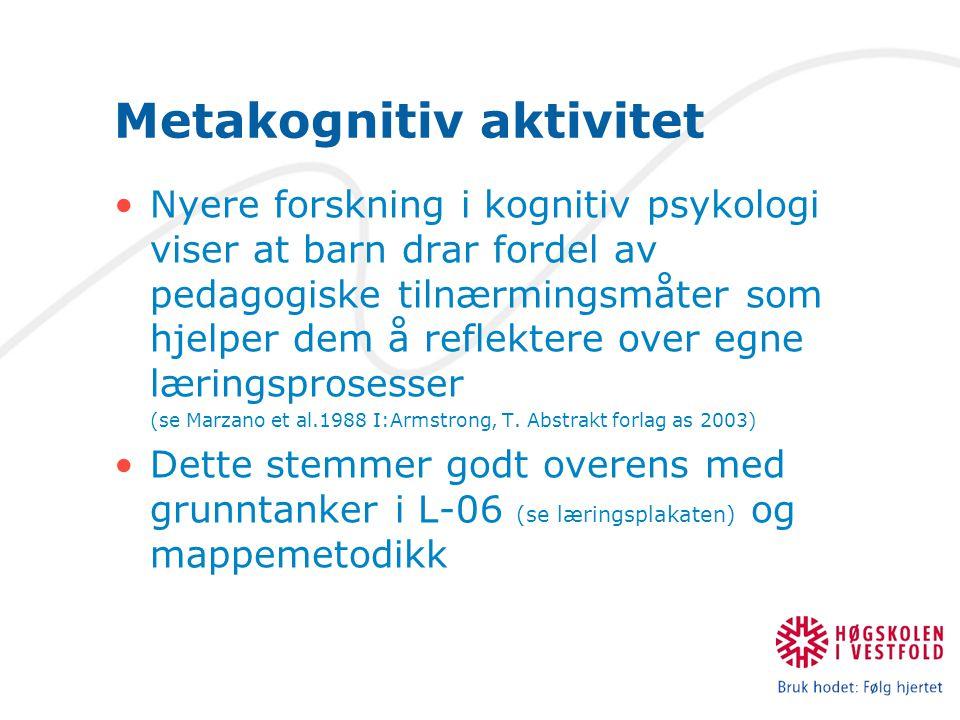 Metakognitiv aktivitet Nyere forskning i kognitiv psykologi viser at barn drar fordel av pedagogiske tilnærmingsmåter som hjelper dem å reflektere ove